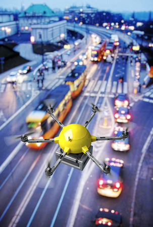 yellow delivery drone and urban background