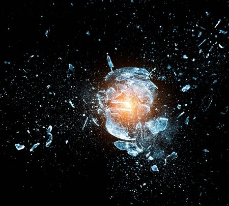 explosion: close up image of glass ball  explosion