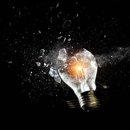broken: close up image of electric bulb explosion