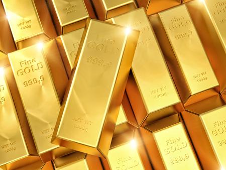 ingot: 3d imeage of fine gold ingot