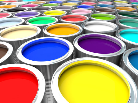 paint can: 3d image of colorful paint can