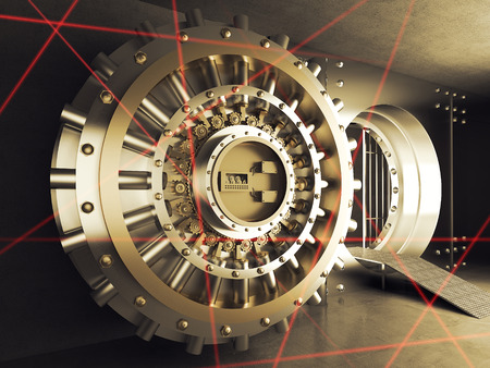 safe with money: classic vault door and laser allarm Stock Photo