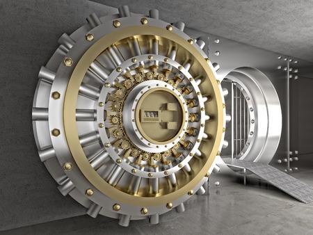 bank safe: 3d image of classic vault door
