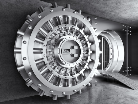 bank deposit: 3d image of classic vault door