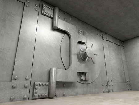 bank protection: 3d image of classic vault door