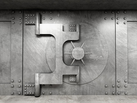 safe with money: 3d image of classic vault door