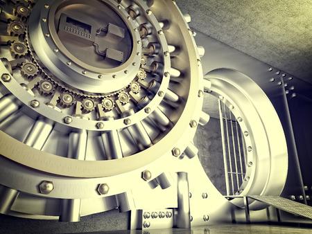 Immagine 3d della porta del caveau enorme