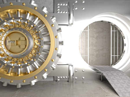 bank deposit: 3d image of huge vault door