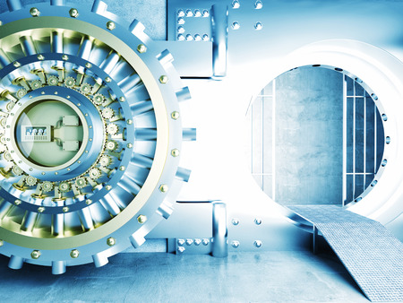 wealth: 3d image of huge vault door