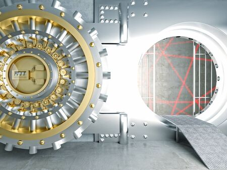 bank vault: huge vault door and laser lines Stock Photo
