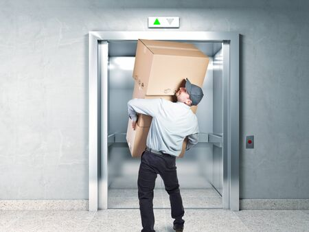 delivery man: delivery man and elevator background