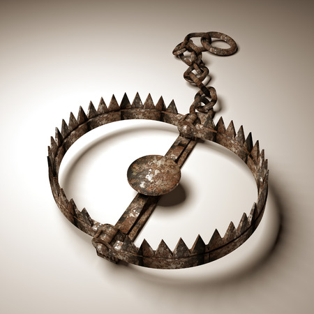 3d old bear trap on white