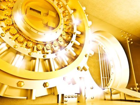 bank safe: 3d image of golden vault door