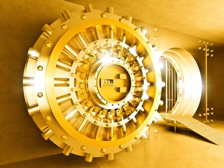 bank vault: 3d image of golden vault door