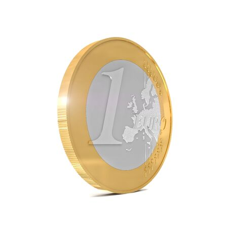euro coin: 3d euro coin isolated on white background Stock Photo