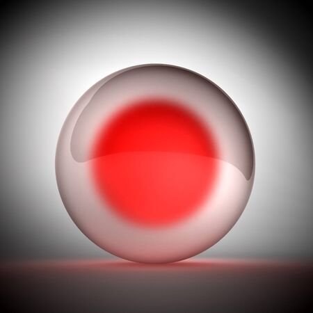 red sphere: 3d image of crystall sphere with red core