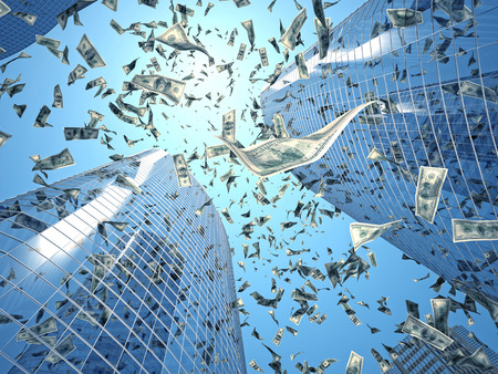 falling money: dollar rain and skyscraper background Stock Photo
