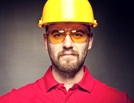 portrait of construction worker with protection