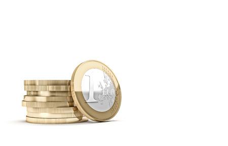 euro coin: golden euro coin and copyspace