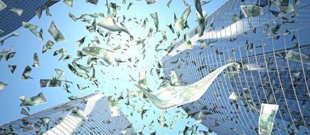 falling money: euro maney rain and skyscraper