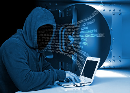 anonymus: non face hacker and vault background Stock Photo