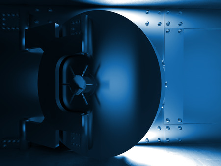3D-afbeelding van grote kluisdeur