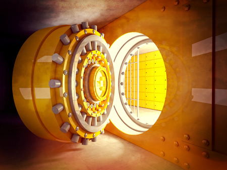 security room: 3d image of classic vault door