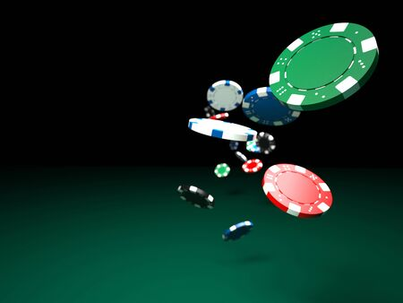 3d image of classic poker chips and green table Reklamní fotografie