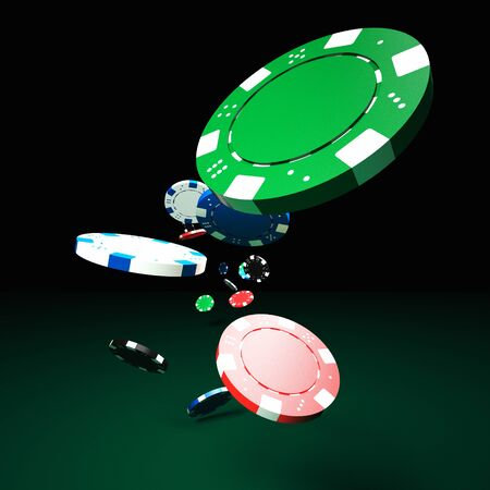 poker chips: 3d image of classic poker chips and green table