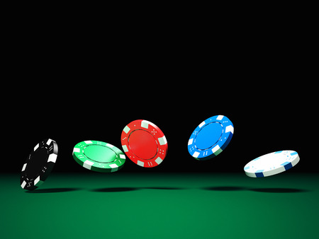 gambling chips: 3d image of classic poker chips and green table