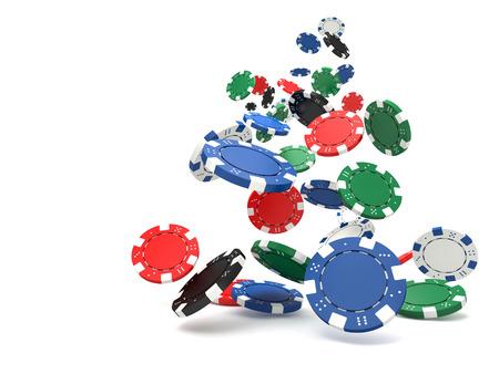 fichas casino: Imagen en 3D de fichas de póquer clásico y mesa verde Foto de archivo