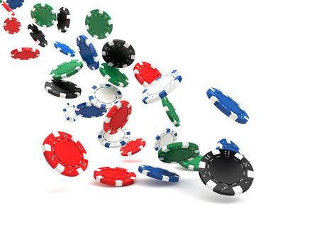 Imagen en 3D de fichas de póquer clásico y mesa verde Foto de archivo