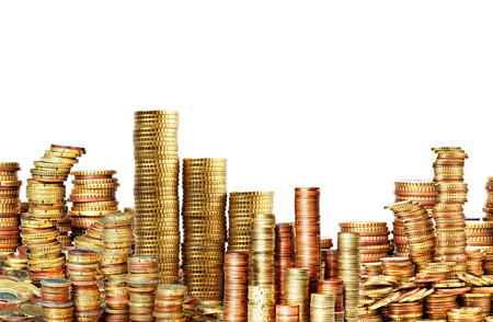 pile of coins: lots of golden coins isolated on white Stock Photo