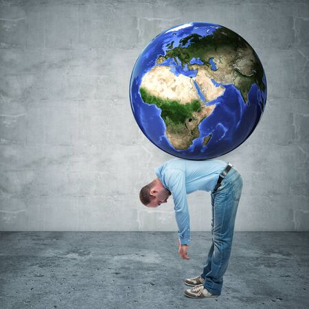 back problem: man with globe on his back europe and asia side