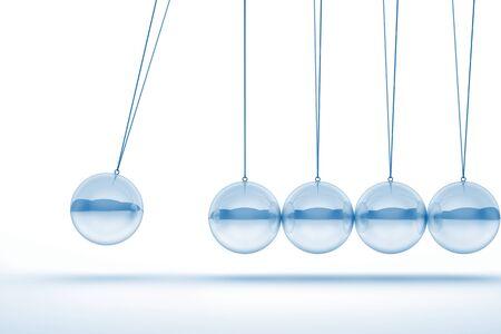 glass newton cradle 3d image