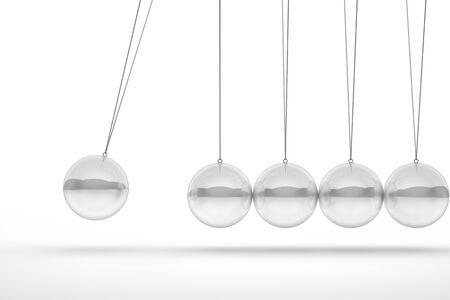 organized group: glass newton cradle 3d image
