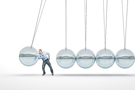 chrome man: businessman push 3d abstract newton cradle