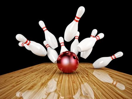 ボウリングのボール、スキトルズの 3 d 画像
