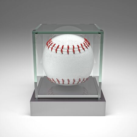 showcase: classic baseball ball in glass showcase