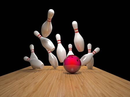 floor ball: 3d image of bowling ball and skittle