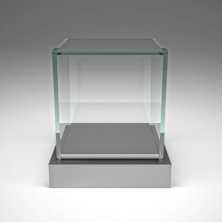 show case: 3d image of glass showcase
