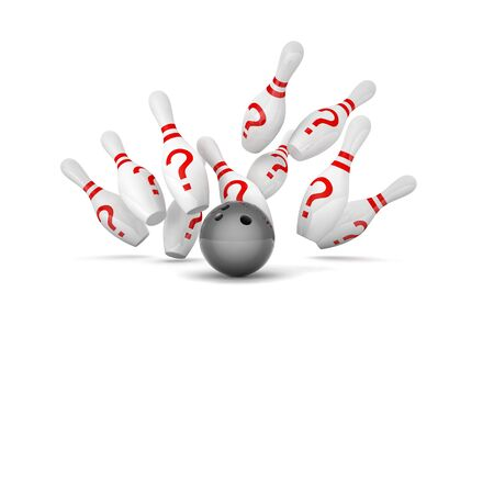 questionmark: bowling skittle and question mark symbol