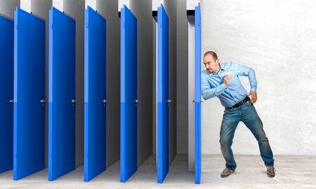 farce: businessman try to farce door Stock Photo