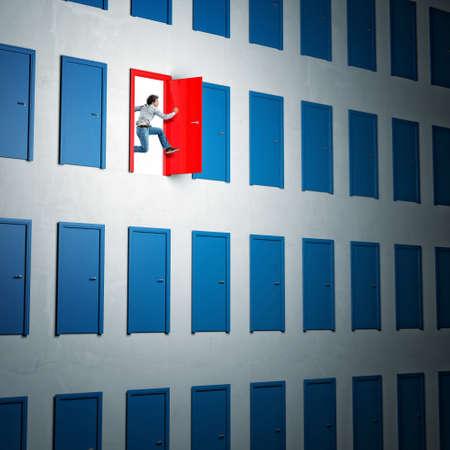 lucky man: man jump from red 3d door
