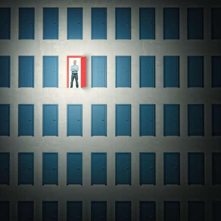 confident man: 3d image of door and confident man