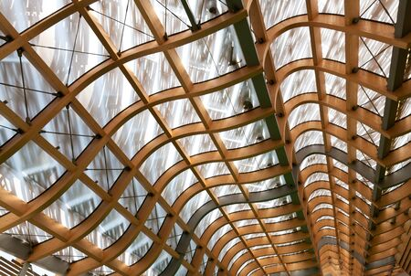 building structures: detail of modern wood roof structure