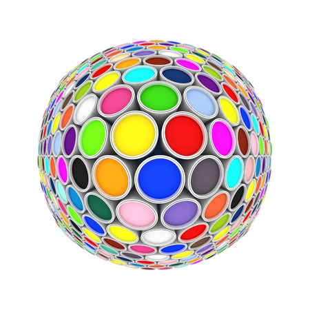 colors paint: colors ink paint can globe on white Stock Photo
