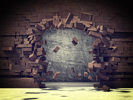 hole in wall: explosion of brick 3d wall