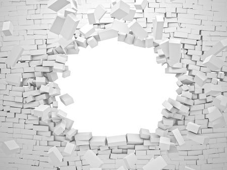 breaking wall brick 3d image Archivio Fotografico