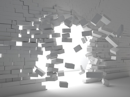 hole in wall: 3d image of breaking brick wall